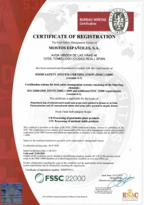 CERTIFICADO INGLES FSSC22000 valido hasta 22-08-2020