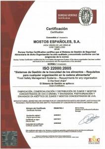 CERTIFICADO ISO 22000 valido hasta 22-08-2020